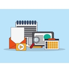 Notepad with office and business related icons vector