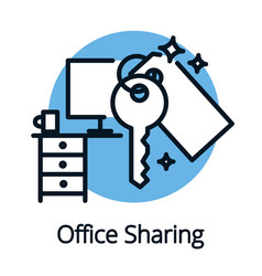 office sharing concept sharing economy icon black vector image