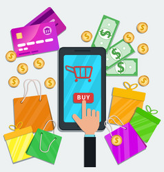 Online shopping with mobile app concept flat vector