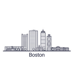 Outline boston banner vector