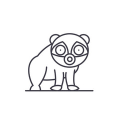 panda line icon concept panda linear vector image
