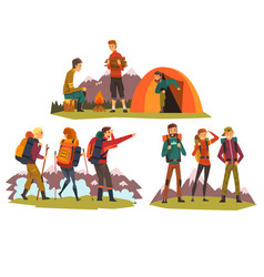 People travelling together camping tourists vector