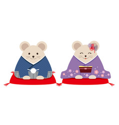 personified rats dressed in japanese kimono vector image
