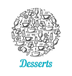 poster of desserts and drinks vector image
