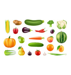 realistic fruits vegetables big harvest clipart vector image