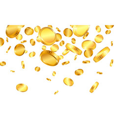 realistic gold coins explosion isolated on white vector image