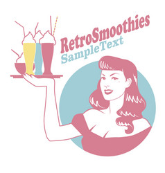 retro emblem of pinup girl carrying a tray with vector image