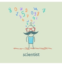 Scientist thinks about numbers vector