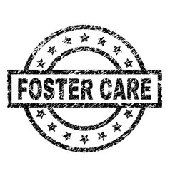 Scratched textured foster care stamp seal vector