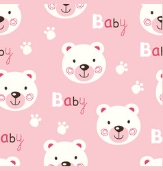 Seamless pattern with cute baby teddy bears vector