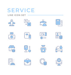 set color line icons services vector image
