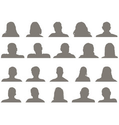 Set male and female head silhouettes vector