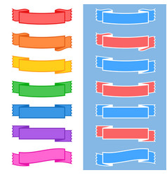 set of colored isolated banner ribbons on white vector image