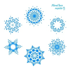 Set of laced snowflakes vector image