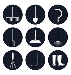 set of round icons garden equipments vector image