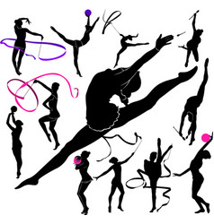 set of silhouettes girl gymnast athlete isolated o vector image