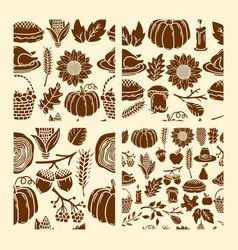 set seamless patterns autumn elements vector image