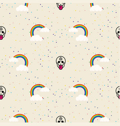 Skull and rainbow funny seamless pattern vector