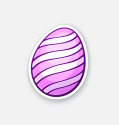 sticker pink easter egg with spiral pattern vector image