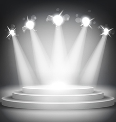 Studio with podium and spotlights grey show light vector image