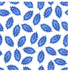 stylized colorful leaves seamless pattern folk vector image