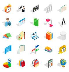 Teacher icons set isometric style vector