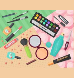 Top view of various makeup decorative cosmetics vector image