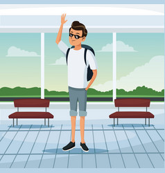 Tourist waiting at airport terminal vector