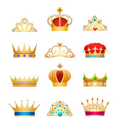 Vintage crown jewels vector