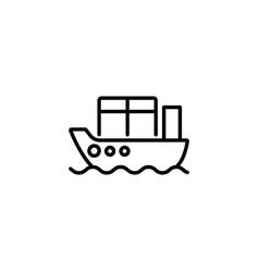 web line icon cargo ship black on white vector image