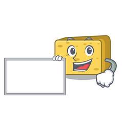 With board gouda cheese character cartoon vector