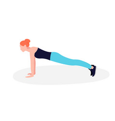 young fit woman doing plank exercise core workout vector image