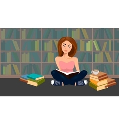 Young woman in a library vector image