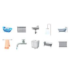 bathroom icon set cartoon style vector image