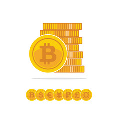 flat golden bitcoins stack of golden coin vector image vector image