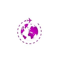 Globe and plane travel icon vector image