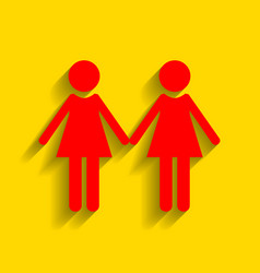 lesbian family sign red icon with soft vector image vector image
