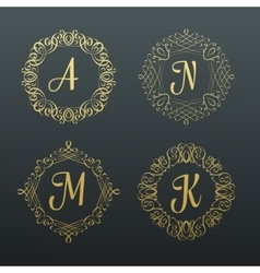 Monograms and calligraphic borders vector image vector image