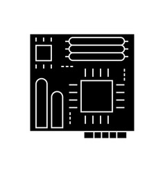 motherboard icon black sign vector image