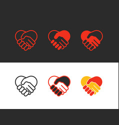 shaking hands icons collection vector image