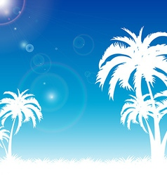 summer blue sky on palm beach vector image