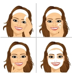 woman showing four steps for cleaning face vector image