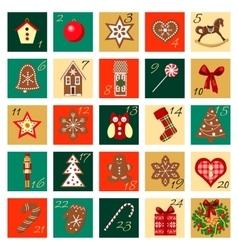 Advent Calendar hand drawn big squared set vector image