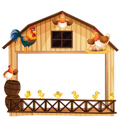 Background design with chickens on the barn vector