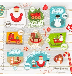 Christmas Poster on White Wooden Background vector image vector image