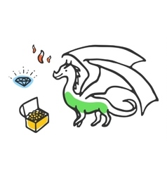 Dragon with treasures and fire vector image