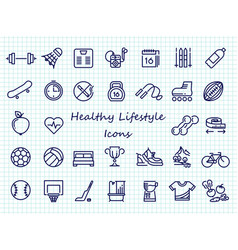 healthy lifestyle outline icons - big set sport vector image