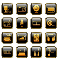mass media icons golden vector image vector image
