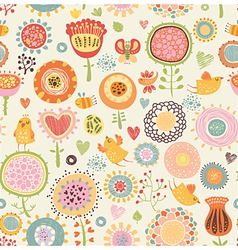 Pattern with birds and flowers vector image vector image