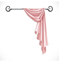 Pink drapery hanging on forged cornice isolated on vector image vector image
